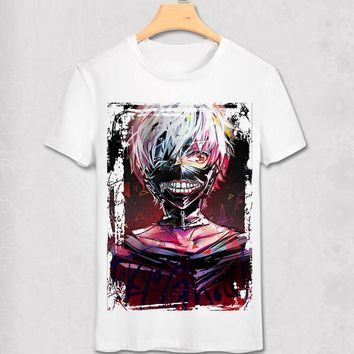 Tokyo Ghoul T-shirts New Japan Anime Kaneki Ken Adjustable Zipper Cosplay Costume Animation Cartoon Ninja Creative 3D T Shirts