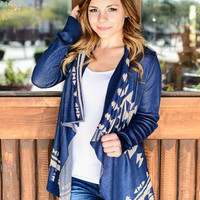 MAKE YOUR MOVE AZTEC CARDI IN NAVY