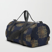 Gold and Navy Damask Duffle Bag by Tanyadraws