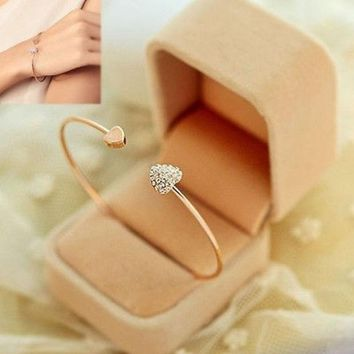 LMFUG3 Women Girl Simple Style Gold Tone Rhinestone Love Heart Bangle Cuff Bracelet (Color: Gold) = 1946455492