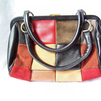 Leather Multicolor Patchwork  Purse, Designer Handbag by Roger Van S, Leather Patchwork purse, Colorful handbag