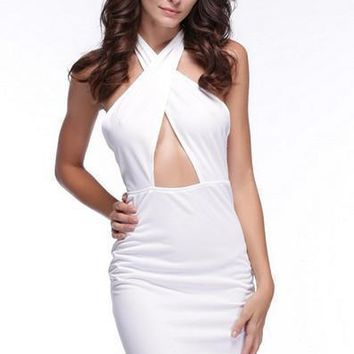 Clothing Party Dresses  Backless Out Cut Dress Cross Halter Midi Club Bodycon