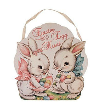 Retro Sweet Easter Bunny Egg Hunt Tin Sign