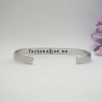 Custom Bracelet Cuff - Personalized Bracelet - Custom Cuff - Handstamped Cuff - Secret Message - Aluminum Cuff - Custom Bracelet