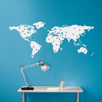World Map Decal with 50 Marking Pins - Geography Wall Art - Medium