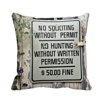 Novelty Pillow, Rustic Sign Pillow, No Soliciting No Hunting throw pillow, cottage decor pillow in cream and black