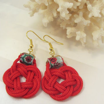 Red Earrings Knot Dangles with Floral Paper Bead and Gold Hooks in Flat Turks Head Knot Little Red Dress Accessory Nautical Chinese Knot