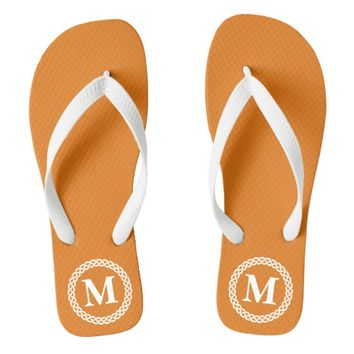 Orange Braided Monogram Flip Flops