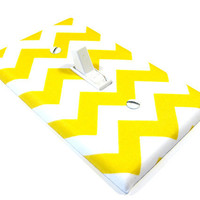 White and Yellow Chevron Riley SMALL Light Switch Cover Zig Zag Zigzag Switch Plate Switchplate Modern Home Decor 974