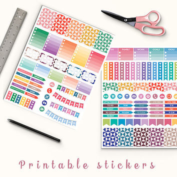 50% OFF SALE Triangles Planner Stickers Printable Stickers Erin Condren Filofax Mambi Box Stickers Page Flags Weekend Banners To Do Stickers