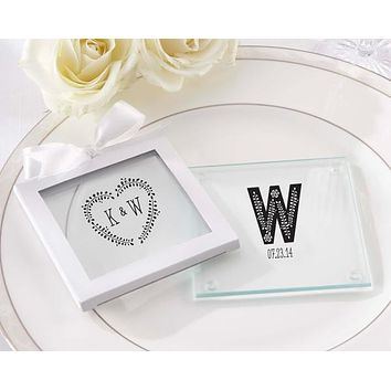 Personalized Glass Coasters- Kate's Rustic Wedding Collection (Set of 12)