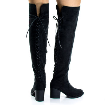 Victoria06S Black By Bamboo, Back Corset Lace Up w High Block Heel Over Knee Boots