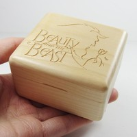 Wood wind up music box Beauty and the Beast (Tale as old as time) special gifts