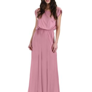 Lyss Loo Timeless Rose Maxi Dress With Elastic Waist & Side Slit