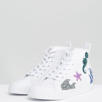 ASOS DIVE IN Seahorse High Top Trainers at asos.com