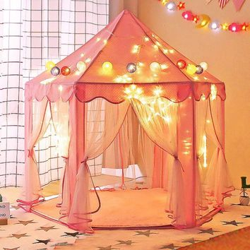 Pink Princess Castle Play House Children Fun Netting Outdoor Kids Play Tent 657228303484