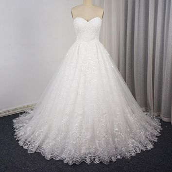 Sweetheart Ball Gown Unique Lace Wedding Dress Lace Up Bridal Gown