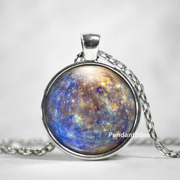 Planet Mercury Necklace Pendant Jewelry Space, Galaxy, Celestial, Solar System,Pastel