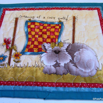 Cat Quilted Mug Rug, Cat Quilted Mini Placemat, Mug Rug Quilted Turquoise Green, Mother's Day Gift, Cat Lovers Gift