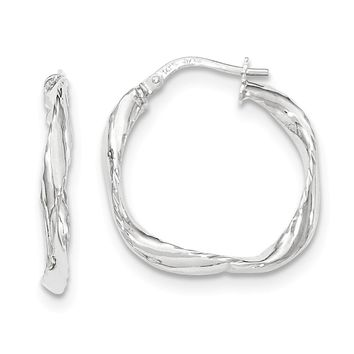 14K White Gold Twisted Square Hoop Earrings