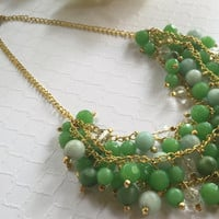 Green Necklace - Statement Necklace - Green Cluster Necklace - Green Statement Necklace Green Layered Beaded Necklace - Gold Chain