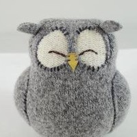 Upcycled Felted Wool Grey Sleepy Owl by formydarling on Etsy