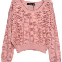 Round Neck Pink long sleeve short style cotton pullover  Solid Pop  style zz918013 in  Indressme