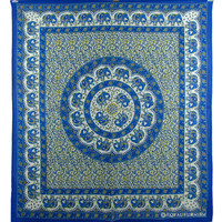 Blue Indian Elephant Mandala Dorm Decor Tapestry Wall Hanging