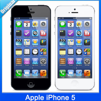 Original Apple iPhone 5 iOS 8 Dual-core 1GB RAM 16GB/32GB ROM 4.0 inches Screen 8MP Camera WiFi GPS Cell Phones Free Shipping