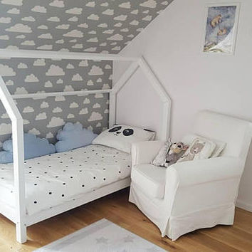 Baby/Toddler/Twin/Queen Amazing House Bed Montessori Style, Natural, Eco, Wooden, Skandi Awesome Look and FUN, optional rails