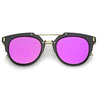Retro Horned Rim Modern Minimal Mirrored Flat Lens Sunglasses A738