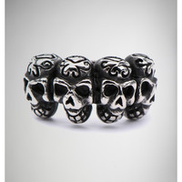 4 Skull Faces Ring