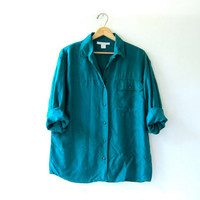 90s silk shirt. turquoise green blouse. minimalist top. pocket shirt.