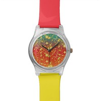 Golden Stars and Circles on A Gradient Background Wristwatch