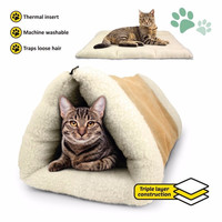 2-in-1 Pet Bed Snooze Tunnel and Mat for Cat Winter