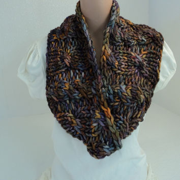 Handcrafted Cowl Wrap Gold Blue Purple Textured 100% Merino Wool Female Adult -- New No Tags