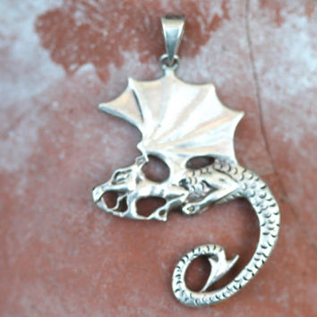 36% OFF SALE Sterling Silver Dragon Pendant