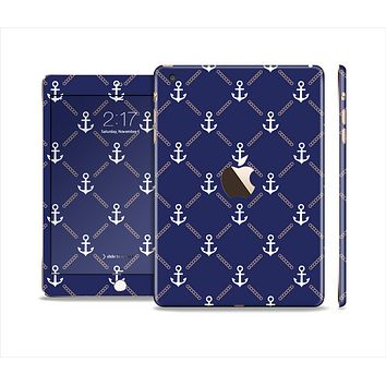 The Navy Blue & White Seamless Anchor Pattern Full Body Skin Set for the Apple iPad Mini 3