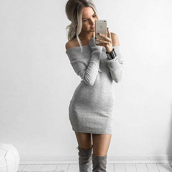 Solid Color strapless boat neck Slim Fit Package Hip Bodycon Dress