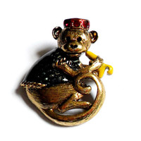 Danecraft Monkey Brooch Vintage Enamel Rhinestone Detailed Red Black Yellow Banana Chimp Chimpanzee