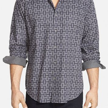 Men's Bugatchi Classic Fit Long Sleeve Sport Shirt,