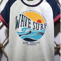 PEAP 1499 WAVE SURF High definition printed multi-point patchwork T-shirt