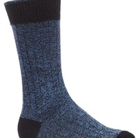 Marled Ribbed Sock - Navy