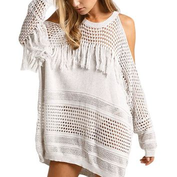 Chicloth Cold Shoulder Pullover Fringe Knit Beach Cover up