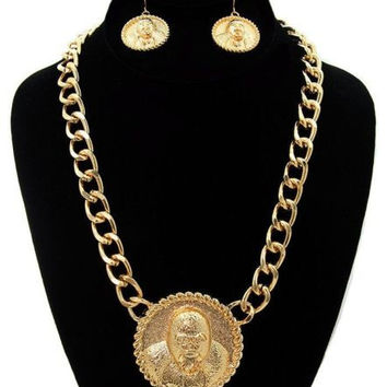 Gold GORILLA Statement Necklace & Earrings SET Link Chain CHUNKY 19""