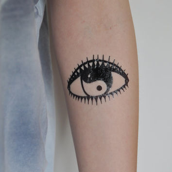Evil Eye Temporary Tattoo, Modern Art, Yin Yang Temporary Tattoo, Temporary Tattoo Art, Minimalist Art, Body Art, Evil Eye Illustration