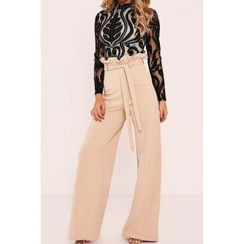High Waist Belted Solid Color Wide Leg Pants