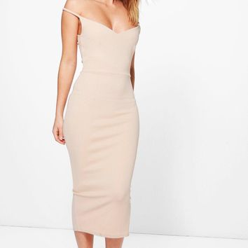 Ash Structured Off Shoulder Midi Dress | Boohoo