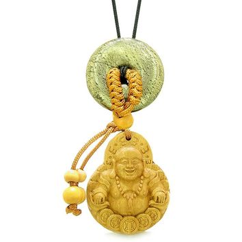 Magic Happy Buddha Car Charm Home Decor Golden Pyrite IrLucky Coin Donut Protection Powers Amulet