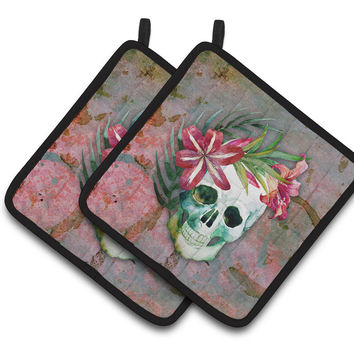 Day of the Dead Skull Flowers Pair of Pot Holders BB5125PTHD
